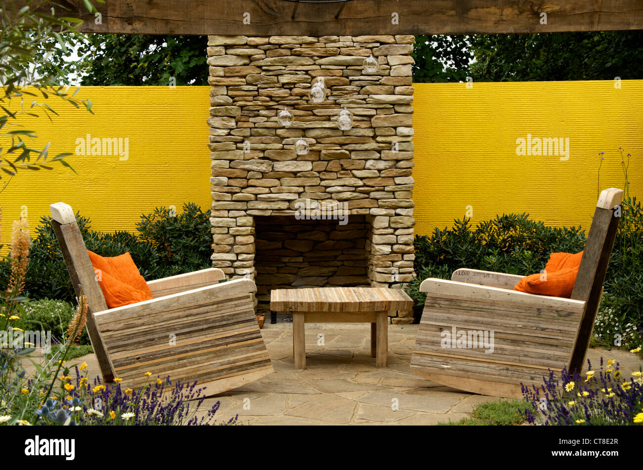 'Summer in the Garden' at Hampton Court Palace Flower Show 2012, a low cost high impact show garden designed - Stock Image