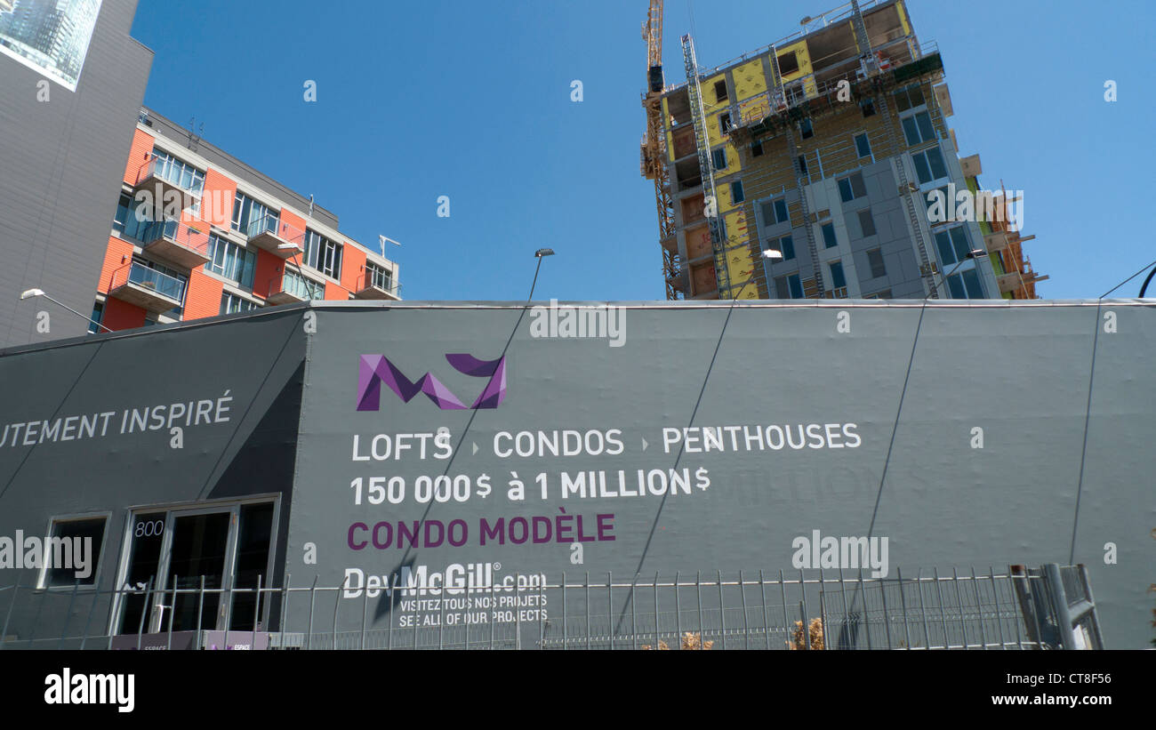 New Condominium residential apartment building under construction Montreal, Quebec, Canada    KATHY DEWITT - Stock Image