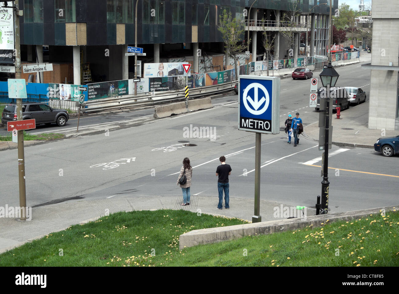 Metro station sign at Champ de Mars on at the corner of Rue Saint-Antoine and Rue Gosford Montreal, Quebec, Canada - Stock Image