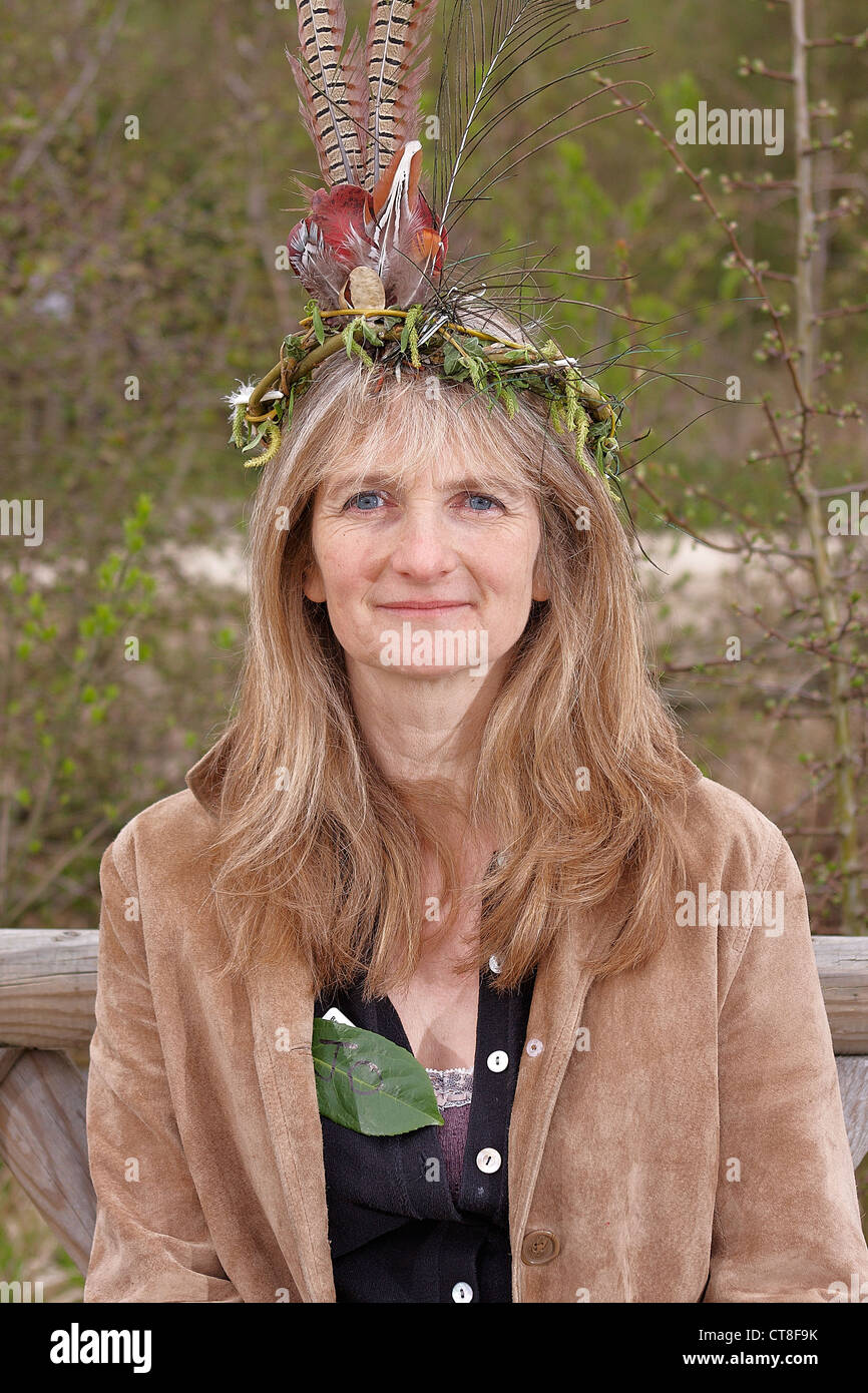 Adventures with Sticks book author Jo Schofield at launch event at BBOWT College Lake reserve near Tring - Stock Image