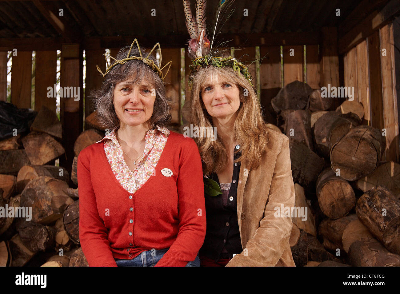 Adventures with Sticks book authors Jo Schofield (L) & Fiona Danks (R) at launch event at BBOWT College Lake - Stock Image