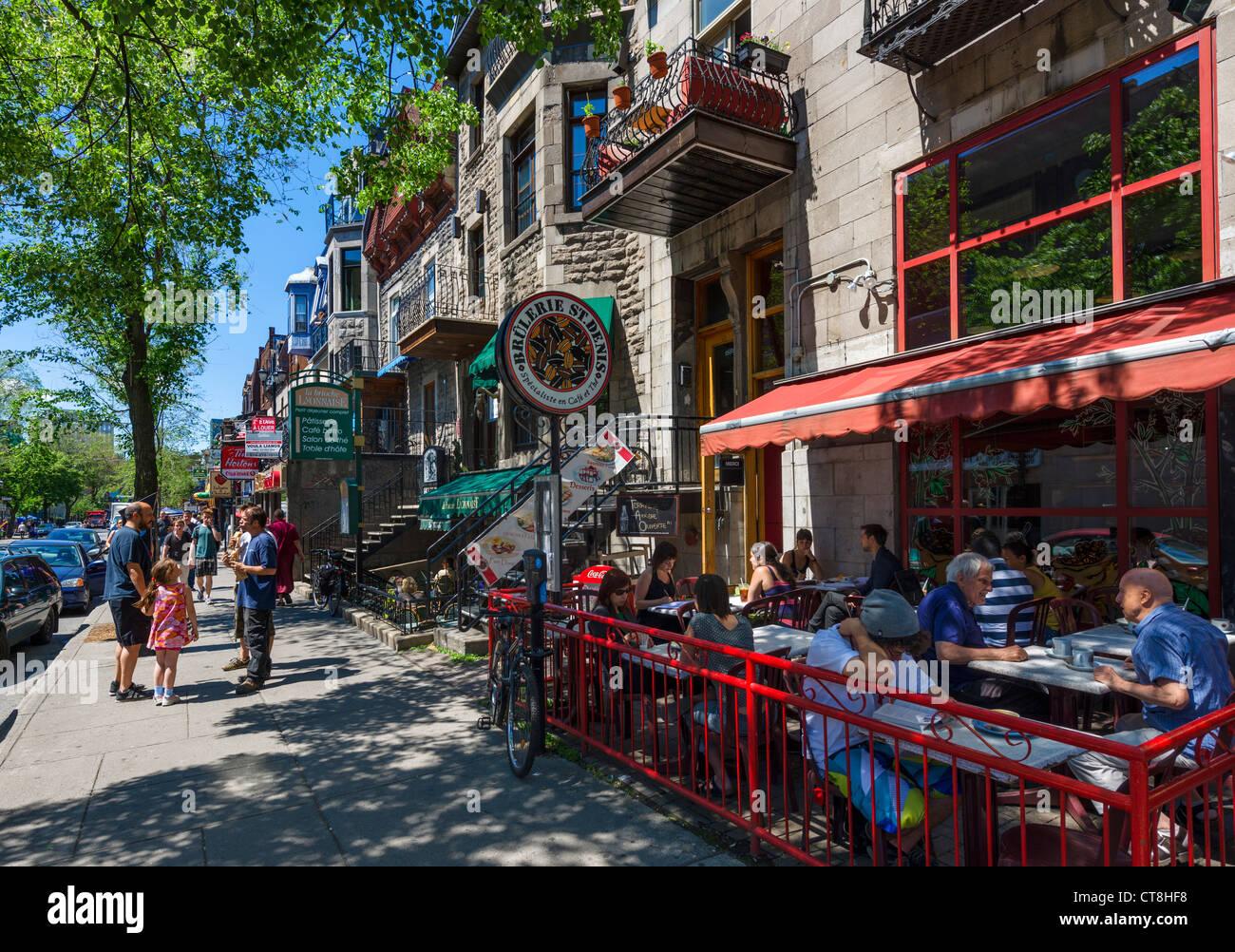 bars cafes and restaurants along rue saint denis in the. Black Bedroom Furniture Sets. Home Design Ideas