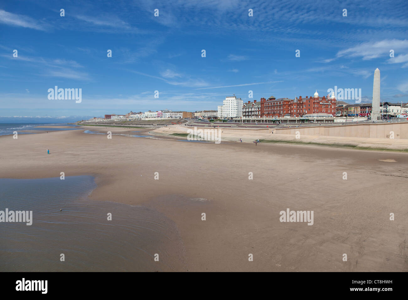 Deserted beach, Blackpool - Stock Image