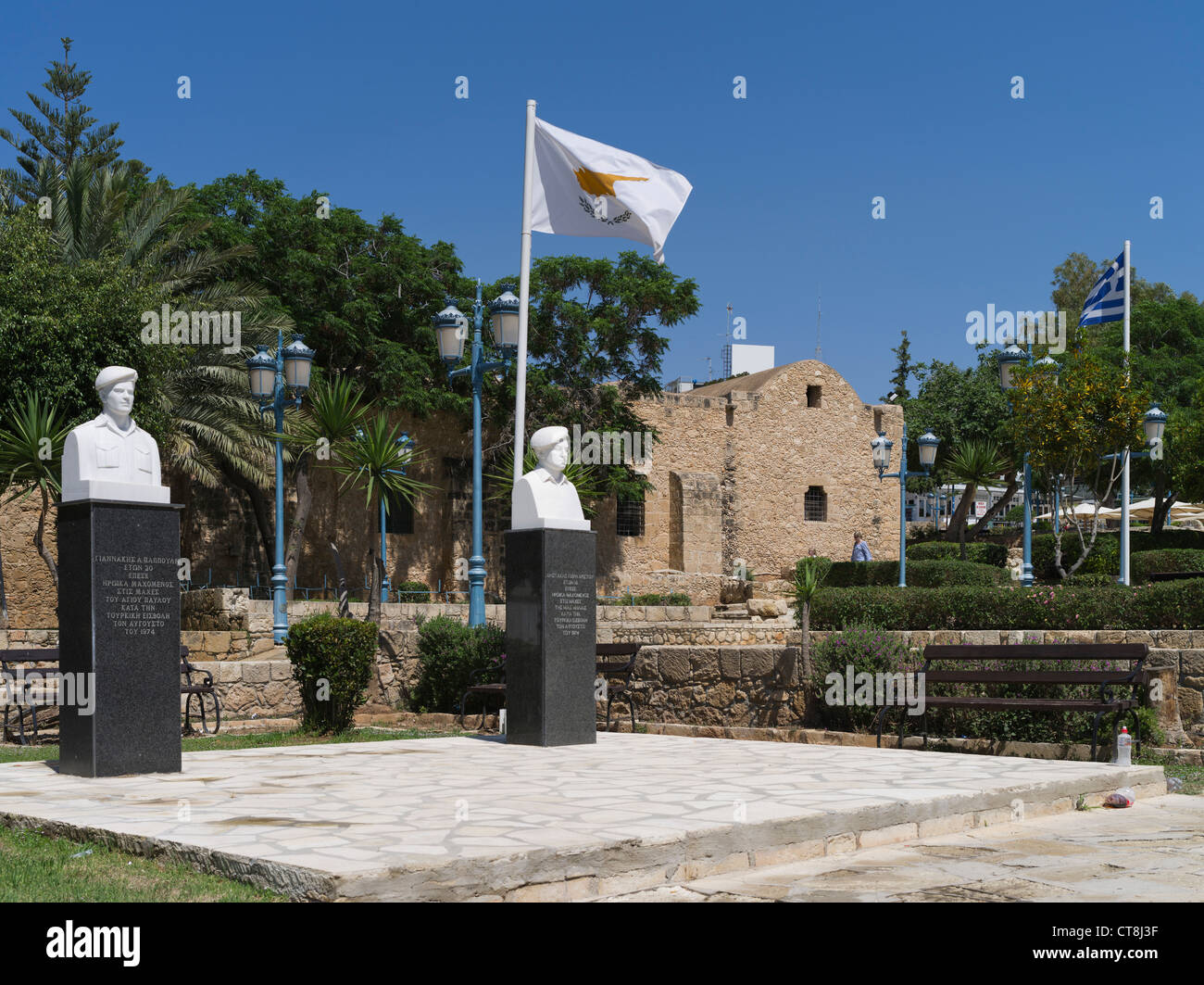 dh  AYIA NAPA CYPRUS Greek soldier memorial 1974 war soldiers busts and Cyprus flag cypriot wars - Stock Image