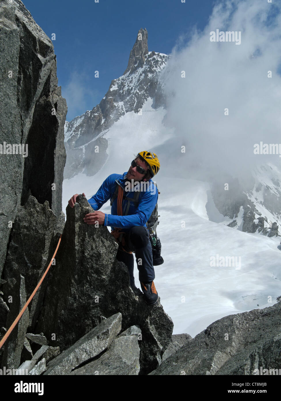 Climbers on the Aiguilles Marbrees in the French Alps Stock Photo