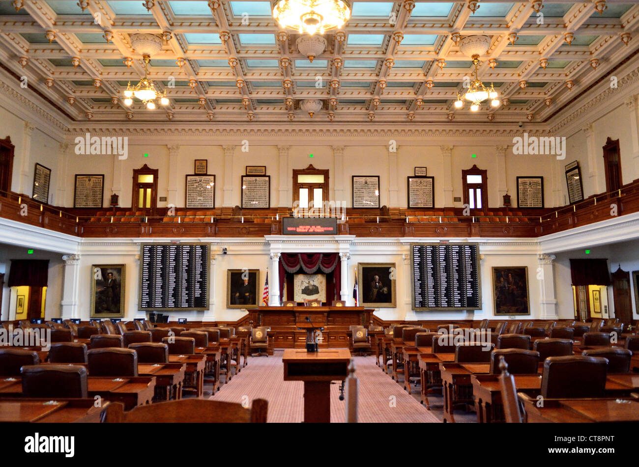 Interior Of Texas House Of Representatives In The State Capital Building.  Austin, Texas, USA.