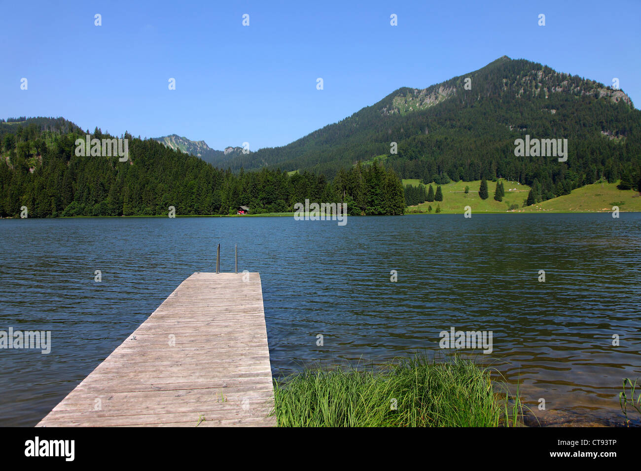 Spitzingsee  lake. An alpine lake in the Bavarian alps. - Stock Image
