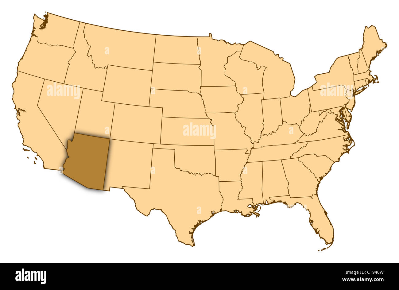 Where Is Arizona On The Us Map.Map Of United States Where Arizona Is Highlighted Stock Photo