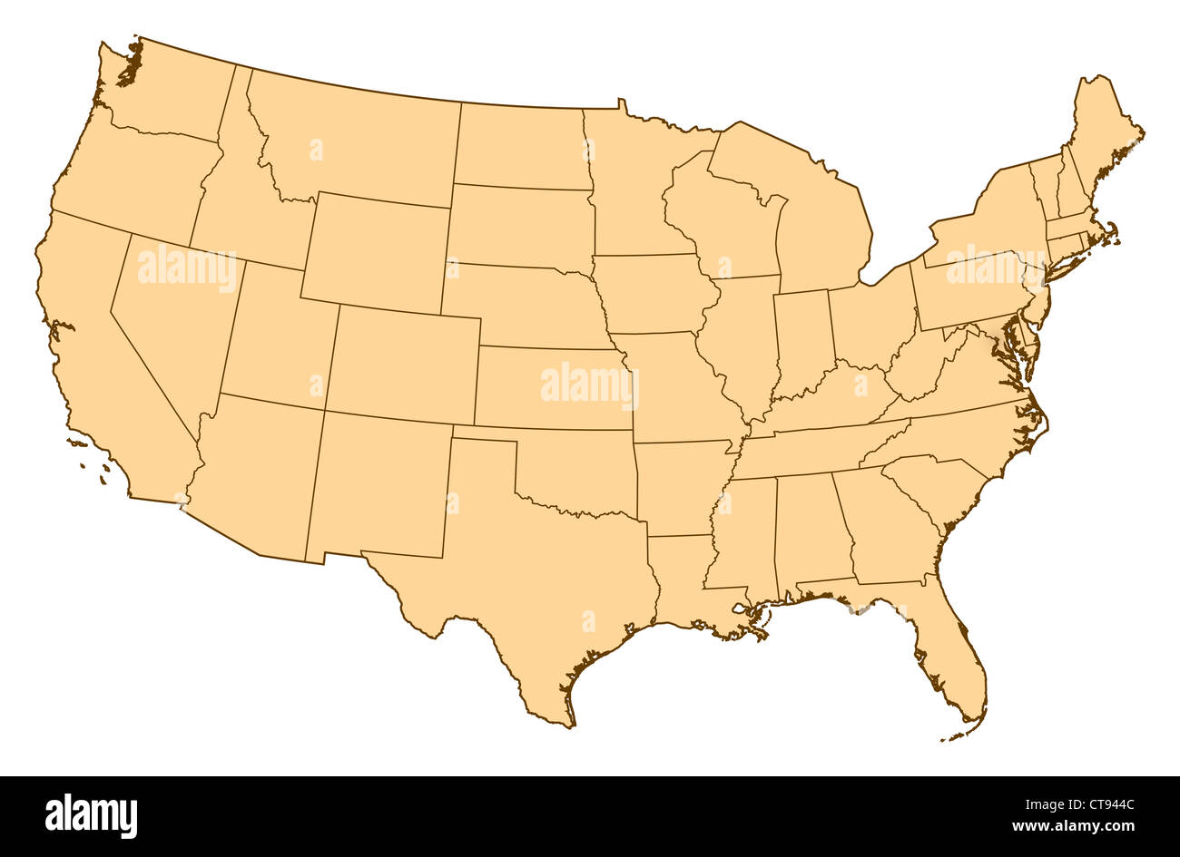 Map of United States where Washington, D.C. is highlighted Stock ...