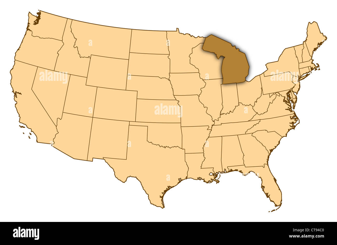 Map of United States where Michigan is highlighted Stock Photo ...