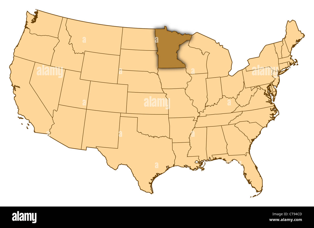 Map of United States where Minnesota is highlighted Stock Photo ...