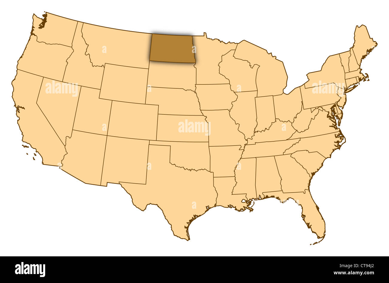 Map of United States where North Dakota is highlighted Stock Photo ...