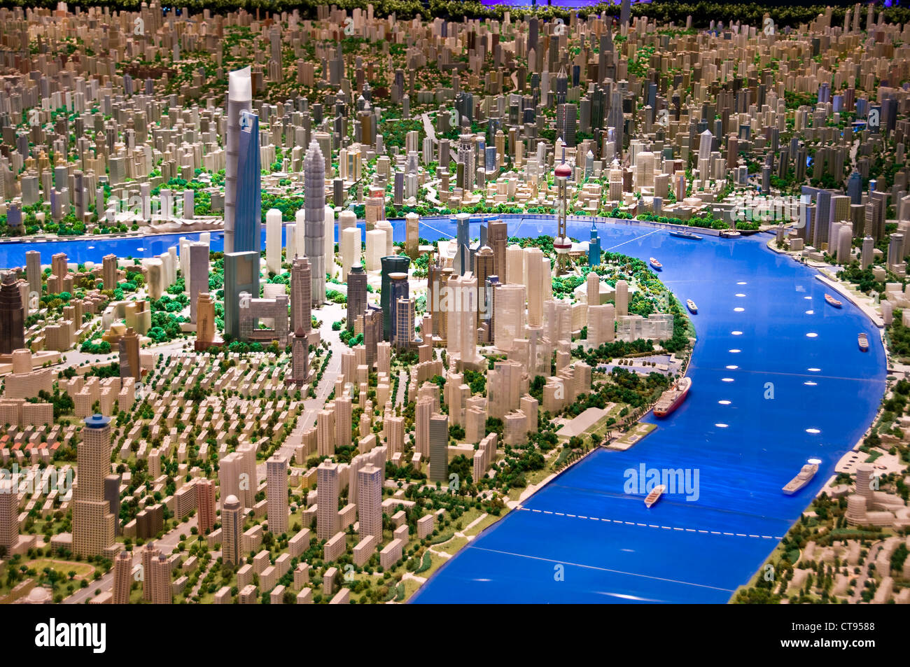 Scale model of Shanghai at the Shanghai Urban Planning Exhibition Center - Shanghai China - Stock Image