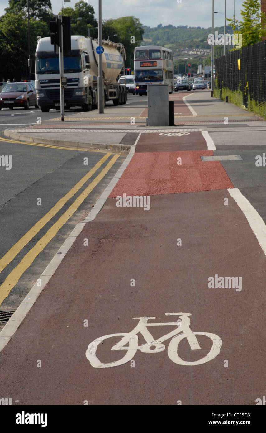 Street furniture obstruction to the Cycle Path - Penistone Road, Hillsborough, Sheffield, England, UK - Stock Image