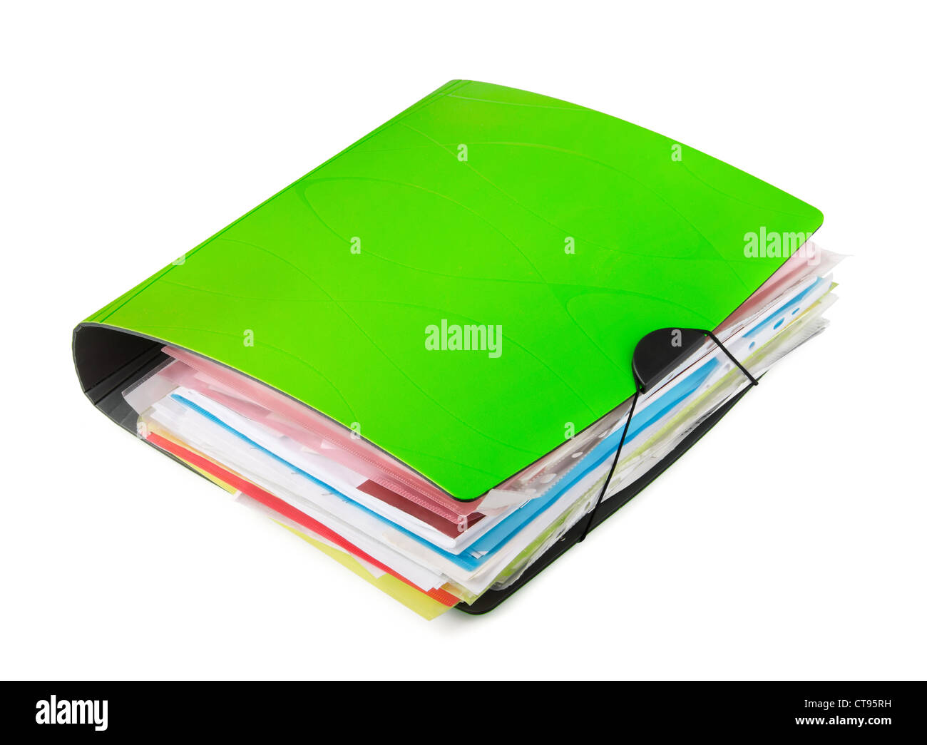 Green ring binder with documents isolated on white - Stock Image