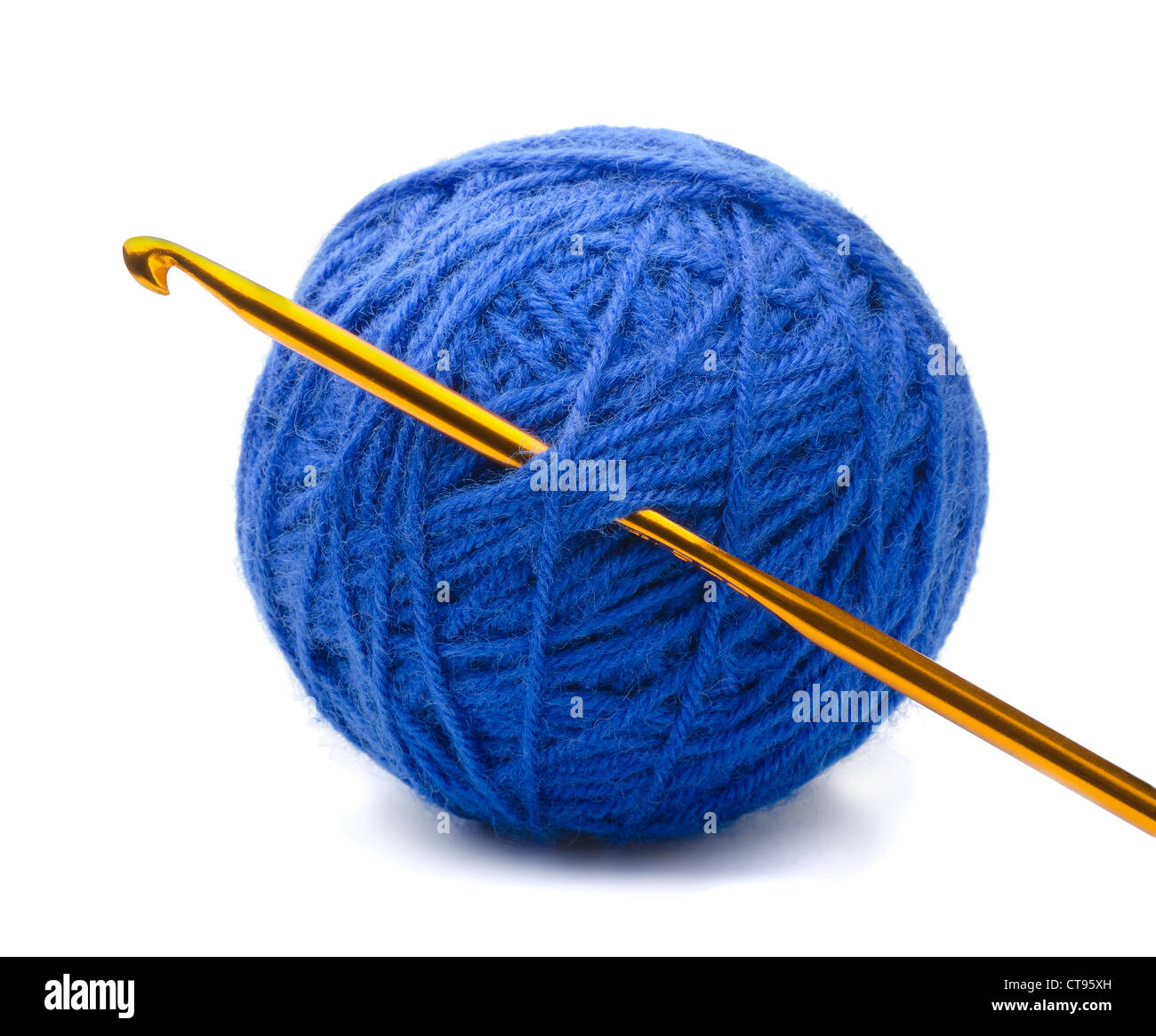 Ball of blue yarn and crochet hook isolated on white - Stock Image