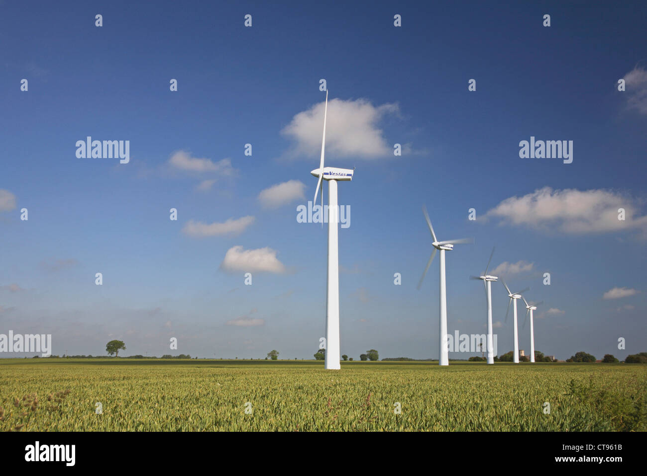 Inland wind turbines in action at West Somerton, Norfolk, England, United Kingdom. - Stock Image