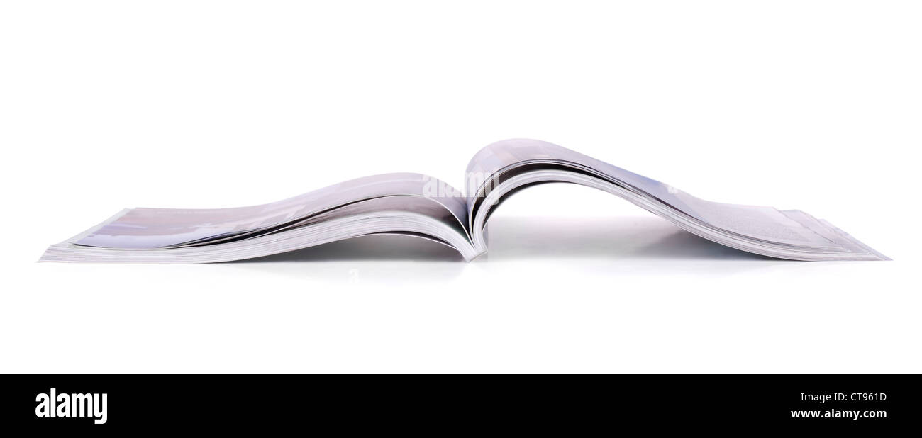 Panoramic shot of open magazine isolated on white - Stock Image