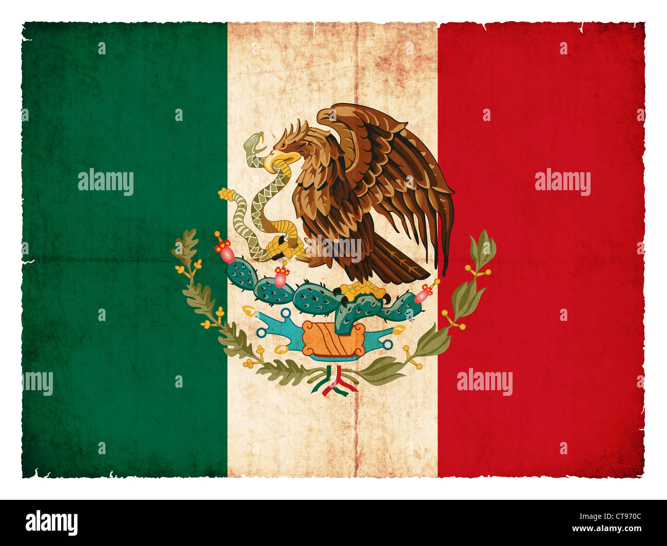 National Flag of Mexico created in grunge style - Stock Image