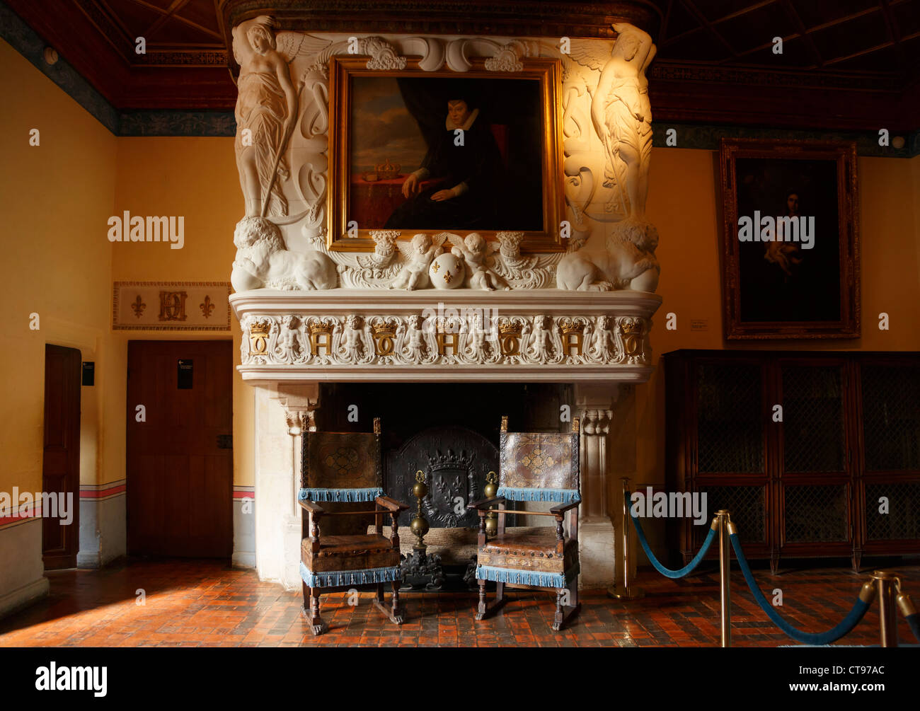 Diane de Poitiers Bedroom, Chateau Chenonceau, France. Fireplace by ...