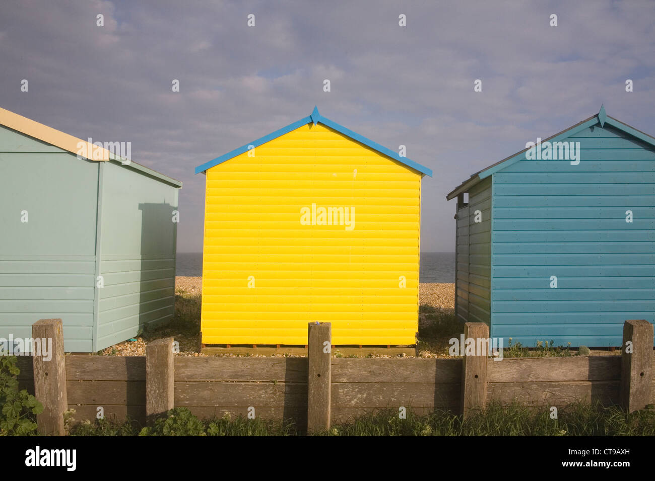 beach huts at lancing on the sussex coast Stock Photo