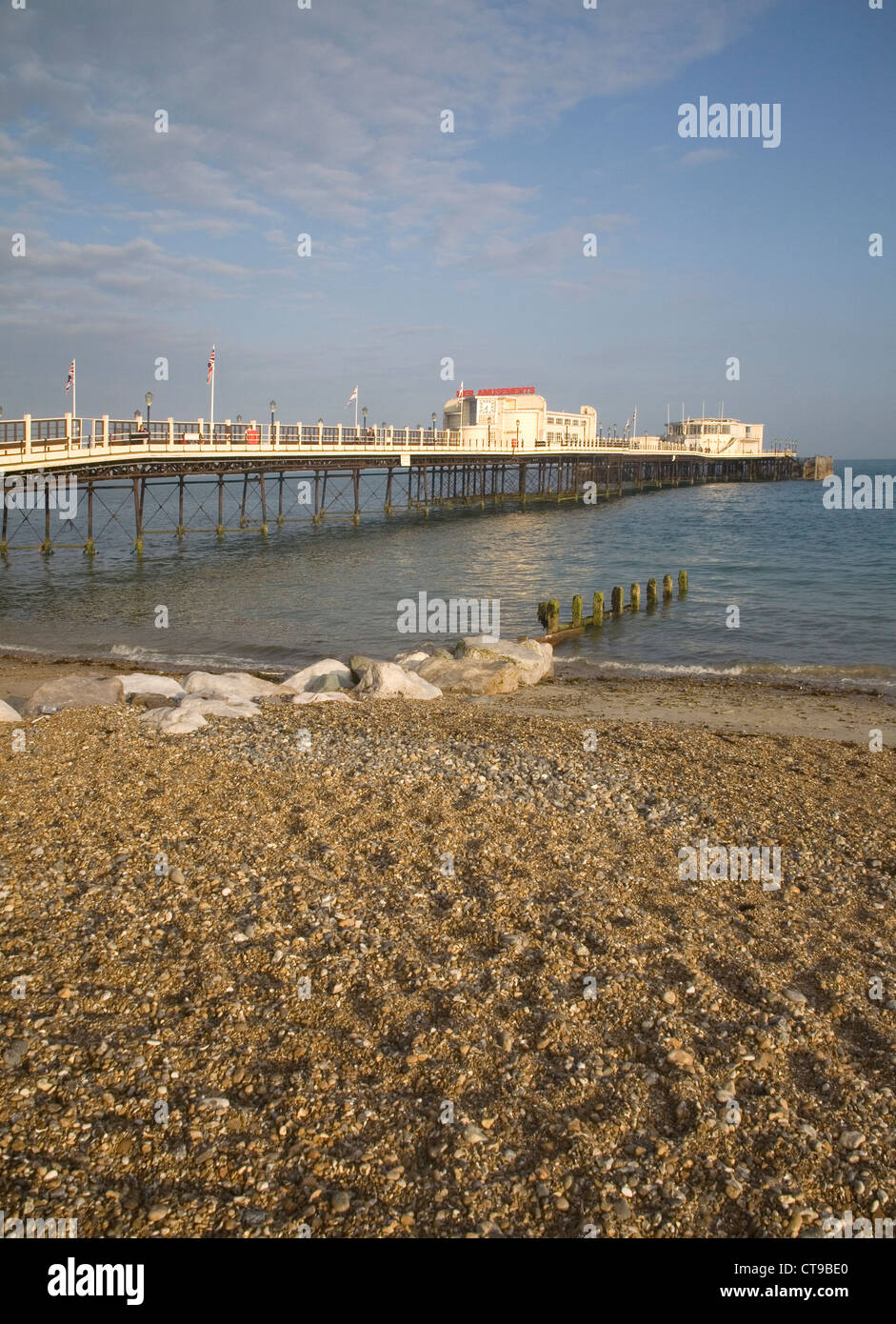 worthing pier on the east sussex coast - Stock Image