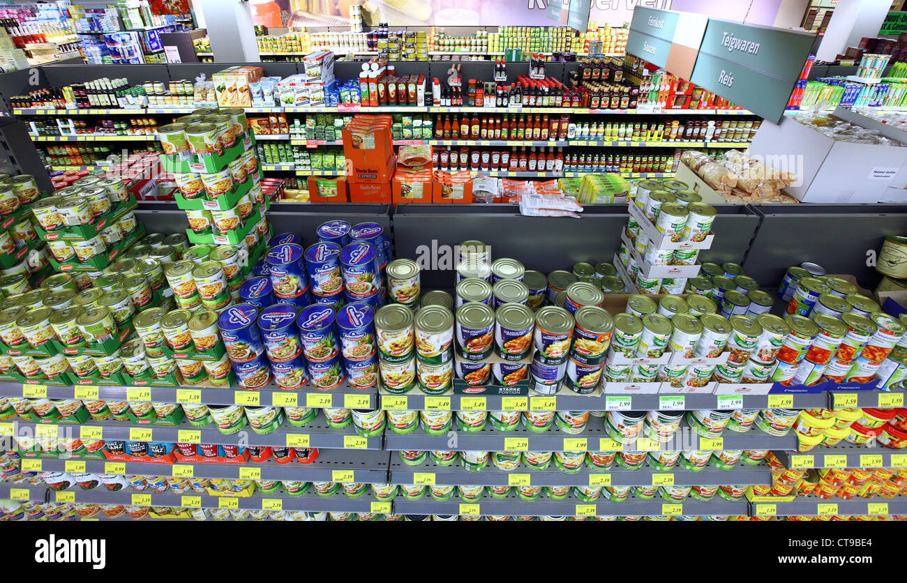 Self -service Supermarket, shelf, rack with different products, foods. - Stock Image