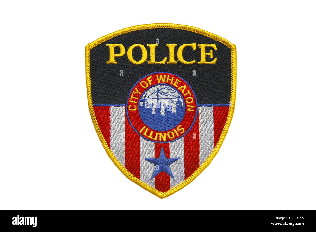 American police patch of the City of Wheaton Police Department Illinois - Stock Image