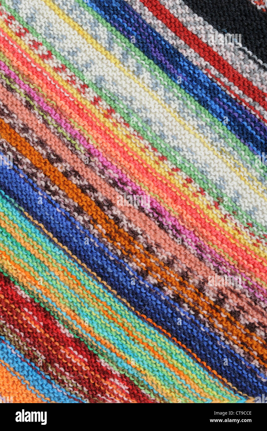 Wool in a colorful pattern - Stock Image