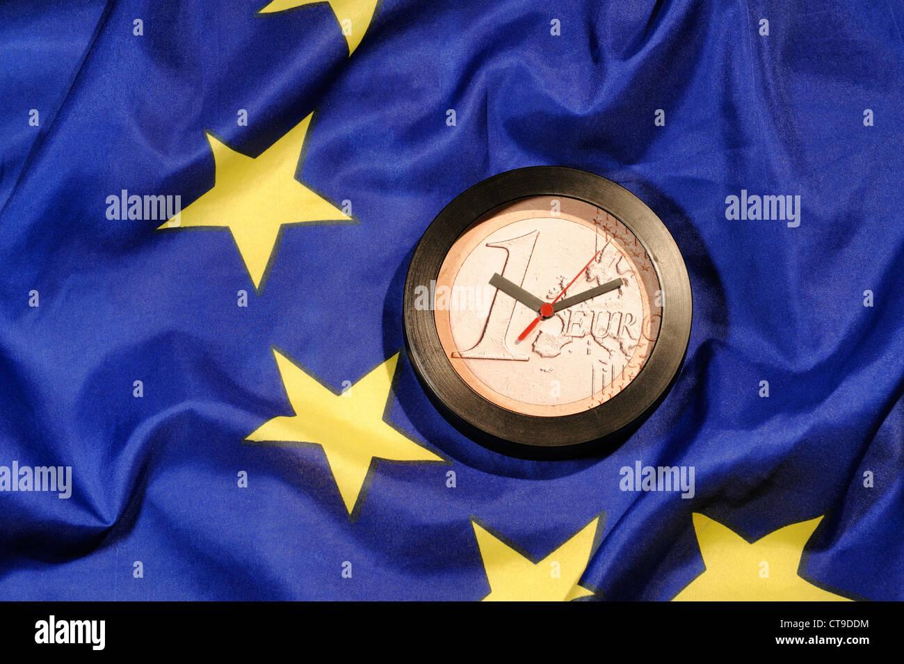 EU Europe Euro coin clock - Stock Image