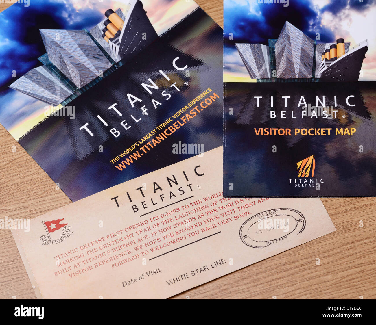Belfast Titanic Exhibition leaflet and ticket - Stock Image