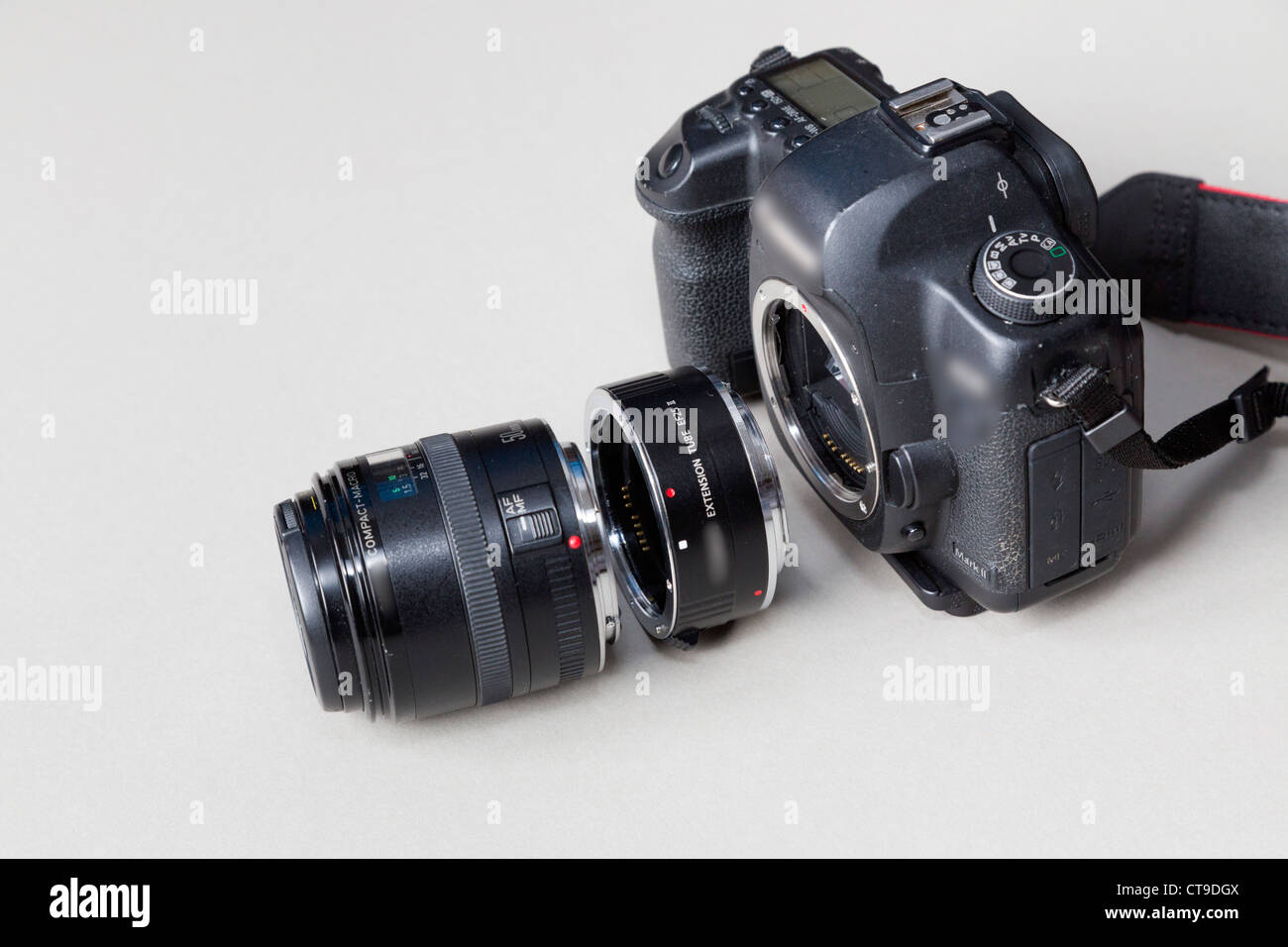 Extension tube and Camera - Stock Image