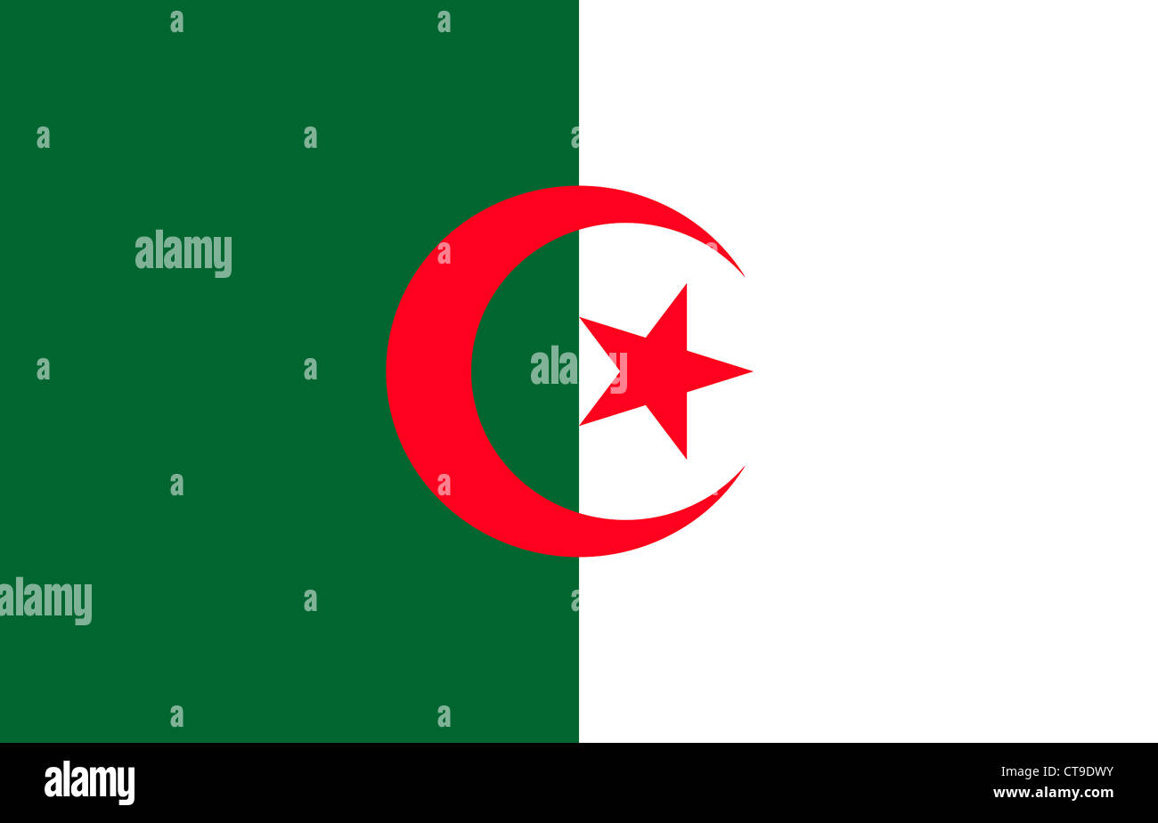 National flag of Algeria. - Stock Image
