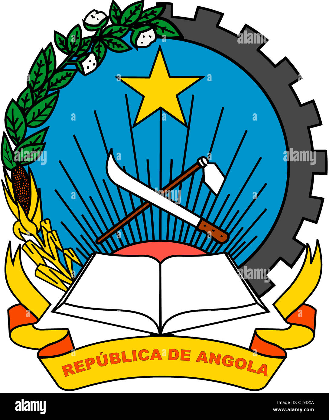 National coat of arms of the Republic of Angola. - Stock Image