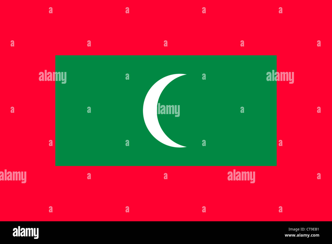 National flag of the Republic of Maledives. - Stock Image