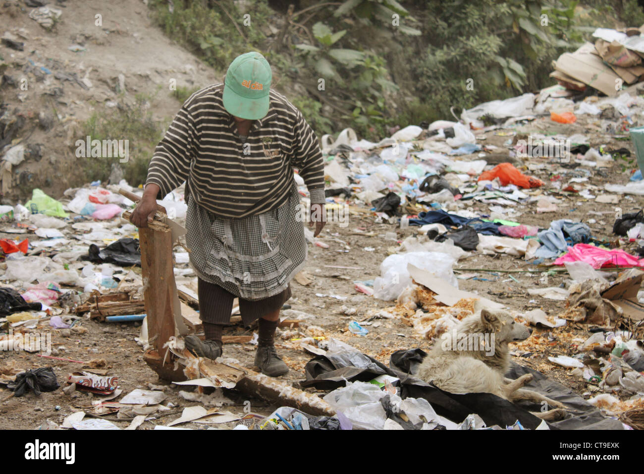Woman scavenging in Landfill in Guatemala City.  Face obscured by cap. - Stock Image