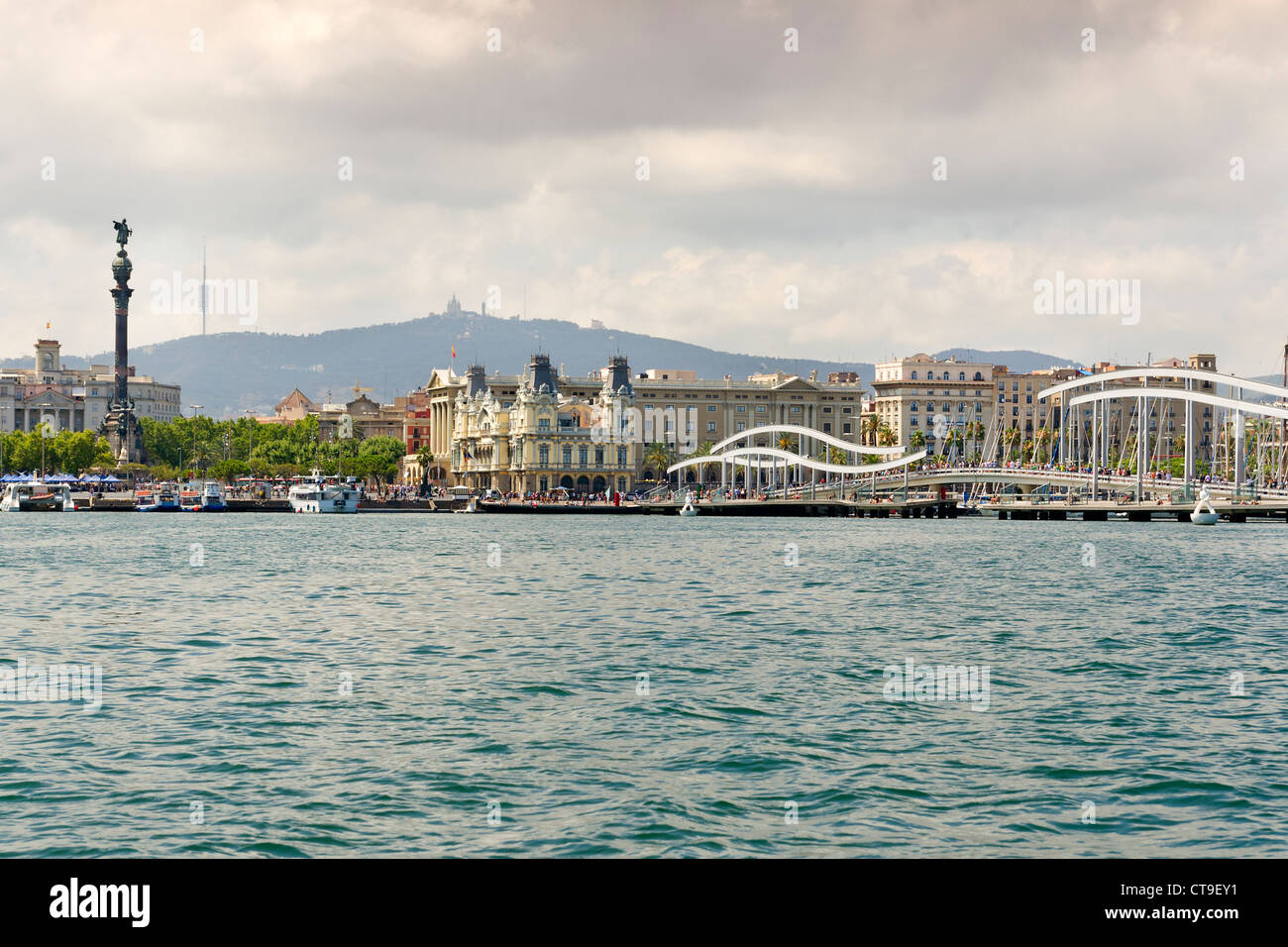 Port Vell at Barcelona Coastline - Stock Image
