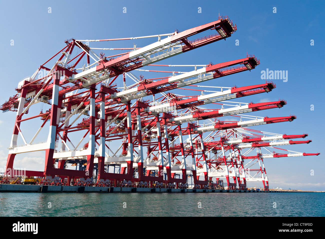 Cargo Cranes in Industrial Port - Stock Image