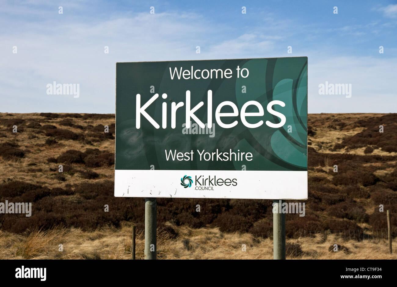 Sign for Kirklees on Pennine moorland road, Kirklees, West Yorkshire, England, UK - Stock Image