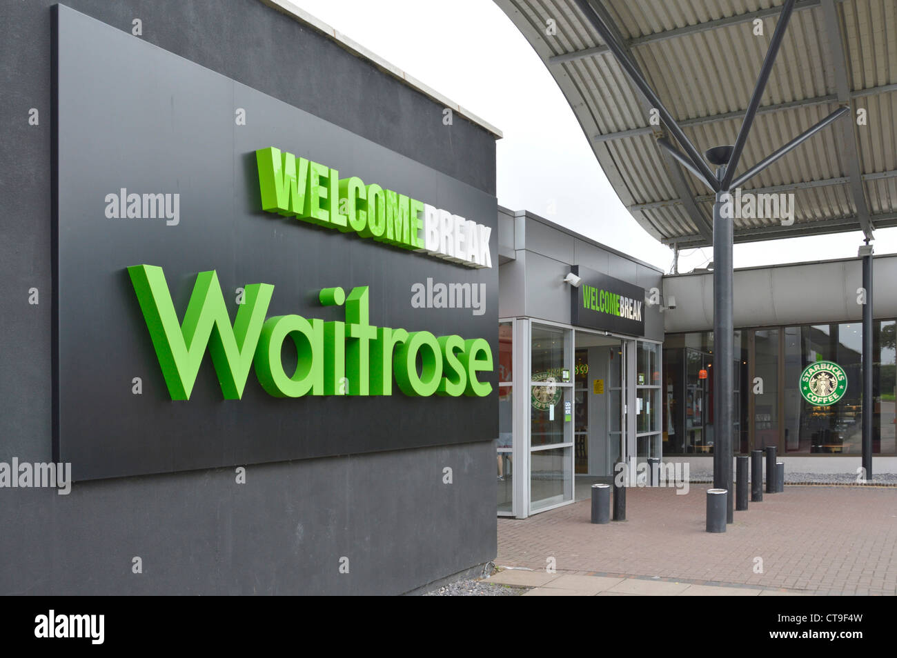 Waitrose sign outside Welcome Break services entrance on the M1 motorway Stock Photo