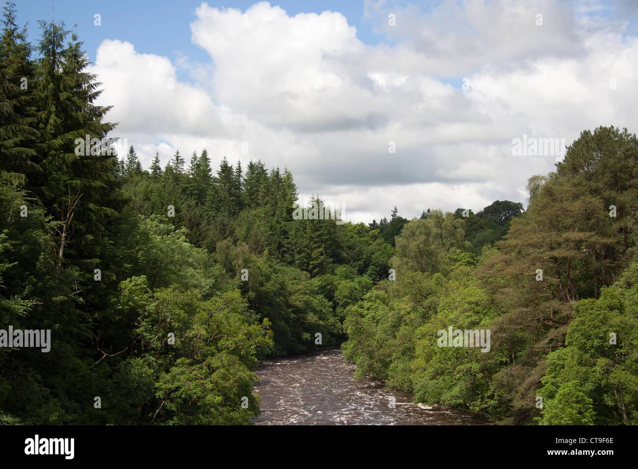 River Clyde at New Lanark  summer 2012 - Stock Image