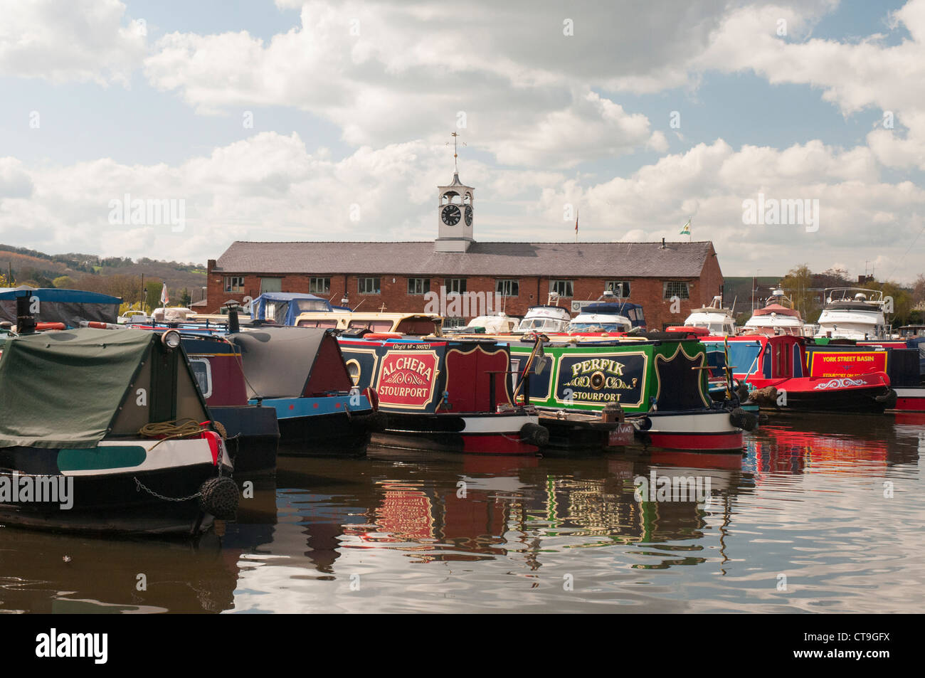 Narrowboats moored in the marina beside the Severn at Stourport-on-Severn, southern terminus of the Staffs & - Stock Image