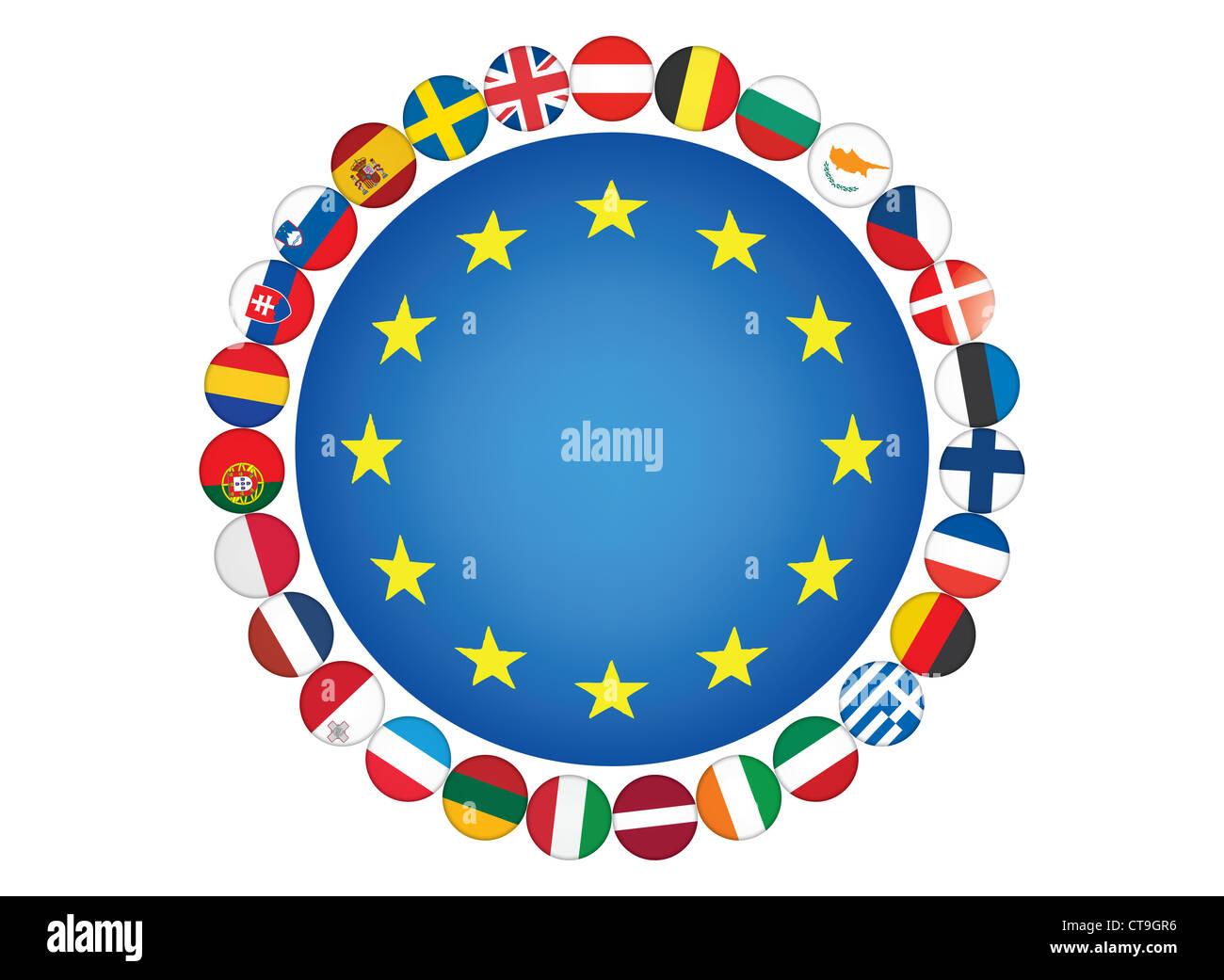 European Union flags illustration - Stock Image