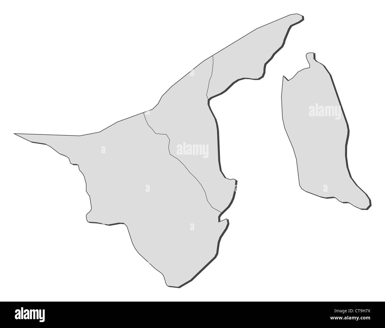 Political map of Brunei with the several Districts. - Stock Image