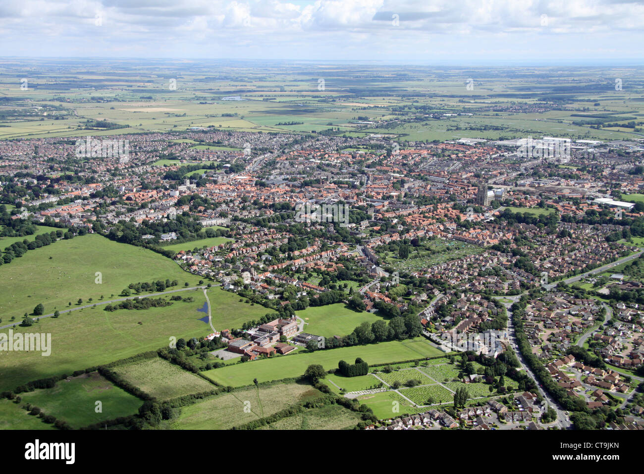 aerial view of Beverley town, East Yorkshire viewed from the south west - Stock Image