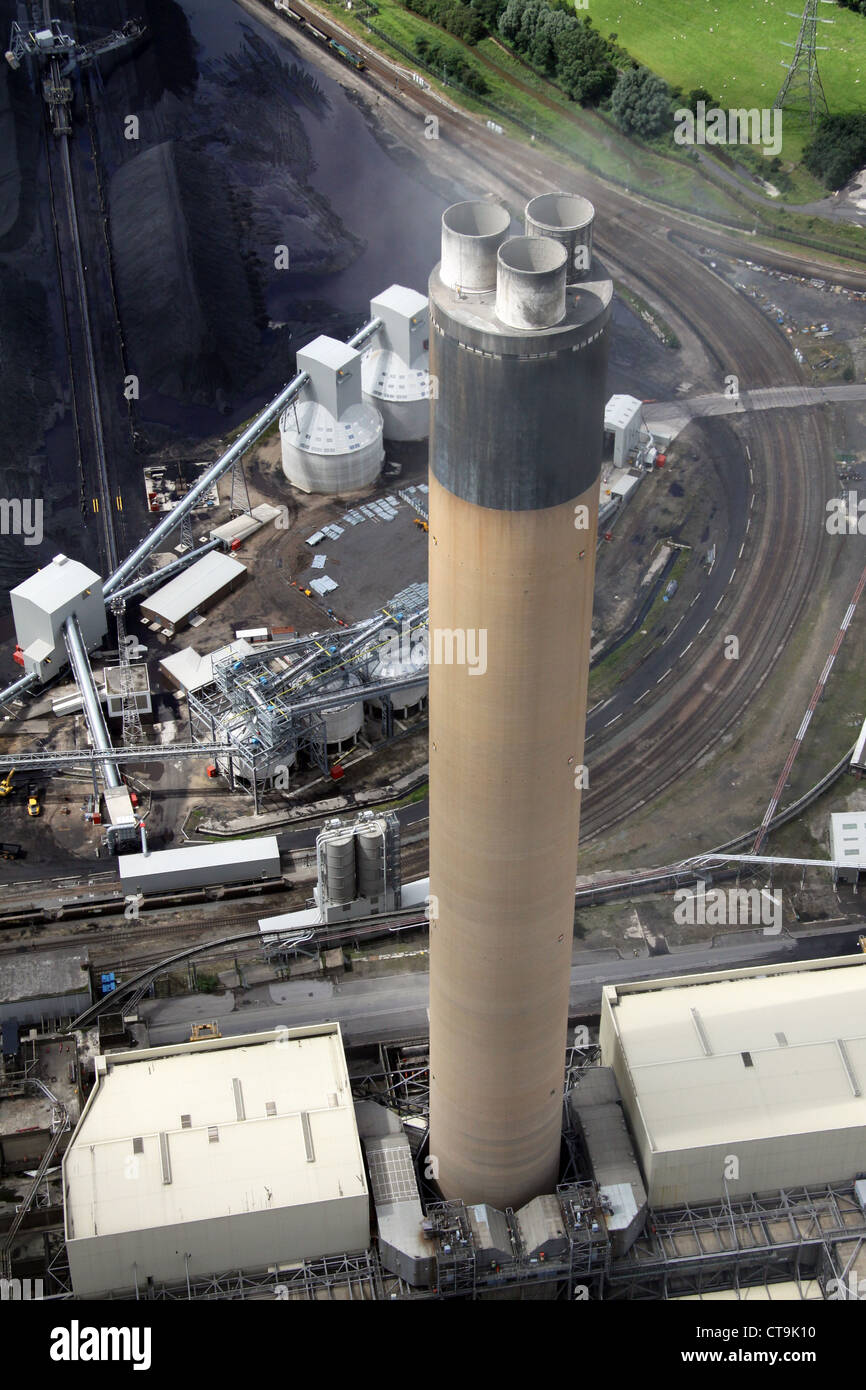 aerial view of Drax Power Station tall chimney in Yorkshire - Stock Image