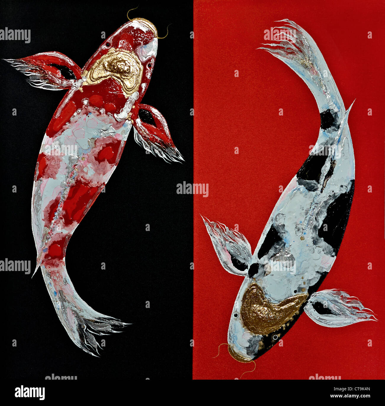 Colorful Koi Carp Painting Stock Photos & Colorful Koi Carp Painting ...