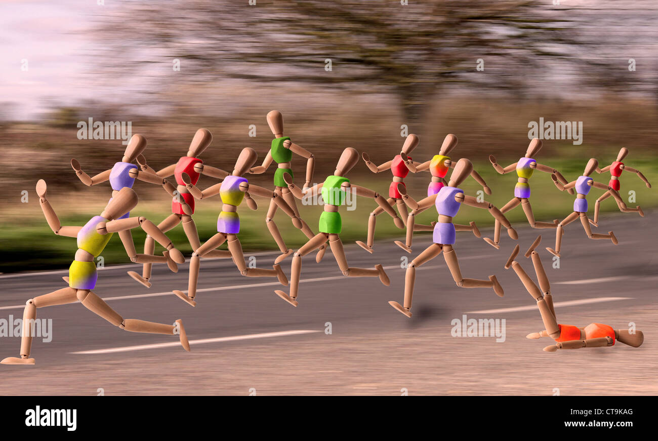 A number of jointed wooden art models in various running postures running along a road in what looks like a marathon - Stock Image