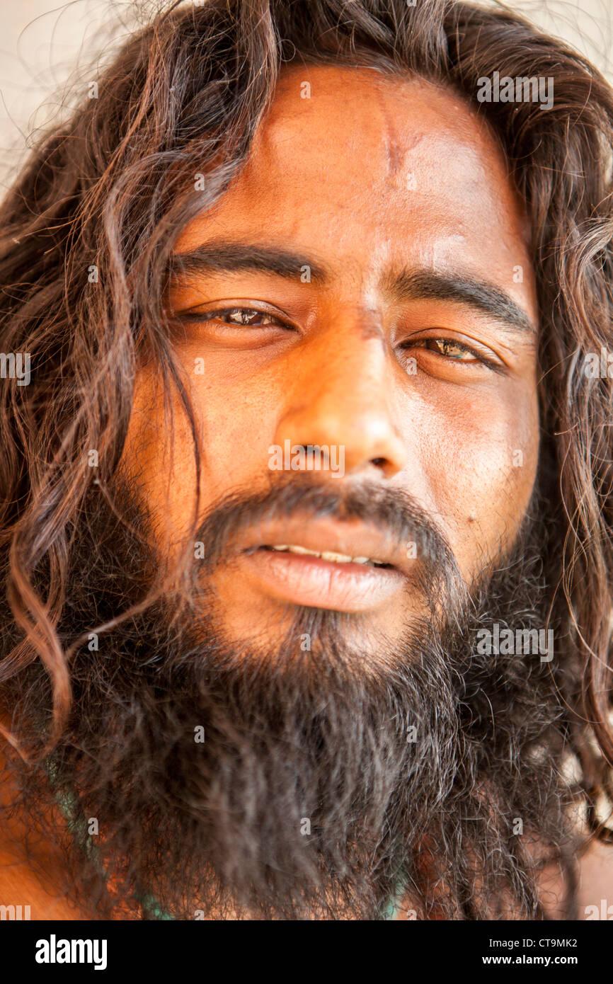 Young Sadhu (holy man) portrait in Varanasi, Uttar Pradesh, India Stock Photo