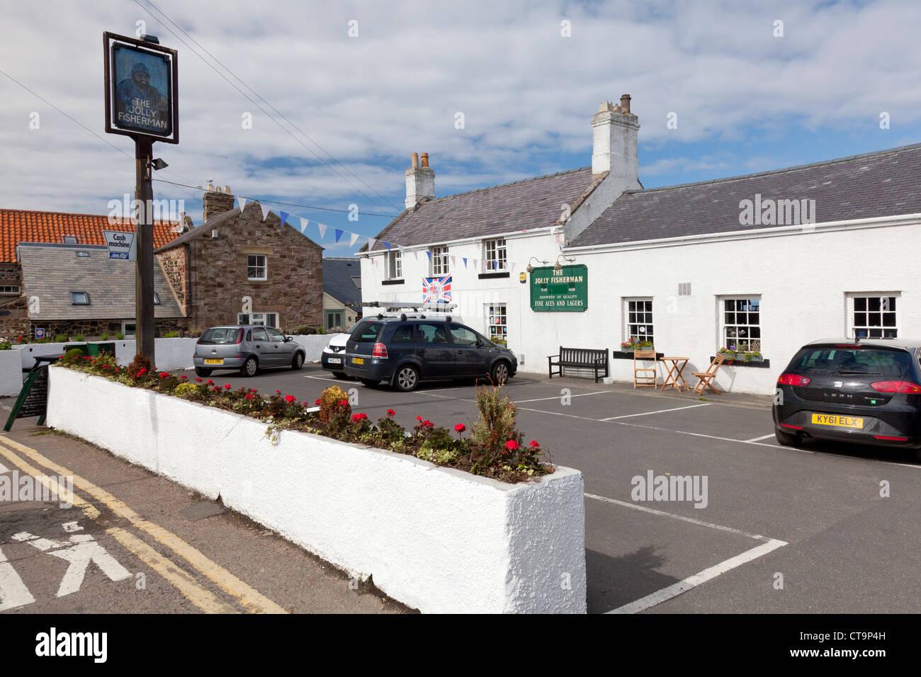 The Jolly Fisherman pub, Craster, Northumberland - Stock Image